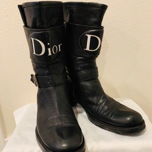 Christian Dior Black Leather Logo Motorcycle Boots